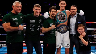 Callum Smith celebrates with brothers Liam (second left), Stephen (third left) and Paul.