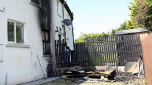 The scene of destruction left by the arson in Larne.