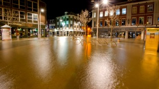 Lowestoft town centre under water following the 2013 tidal surge.