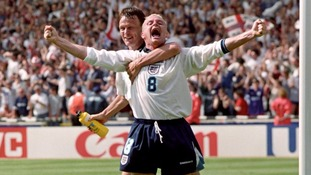 Paul Gascoigne celebrates his famous goal against Scotland at Euro 96.