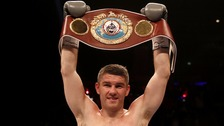 Liam Smith celebrates victory over Predrag Radosevic at the Echo Arena, Liverpool.