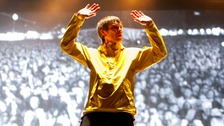 Ian Brown of The Stone Roses performing at the Isle of Wight Festival.