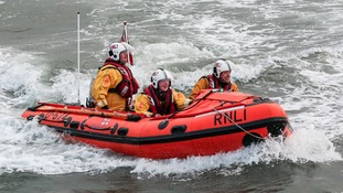 RNLI rescue group off the Whitby coastline
