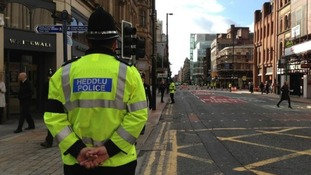 A police officer from Wales at Deansgate Street in Manchester