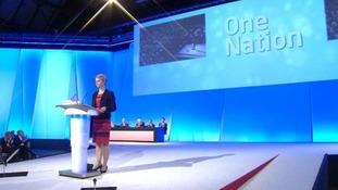 Shadow home secretary Yvette Cooper delivering her keynote speech