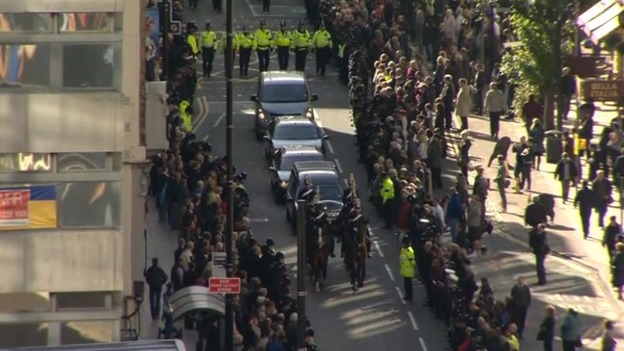 Police officers from across the country lined the streets of Manchester