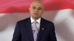 Sajid Javid speaking at Canary Wharf.