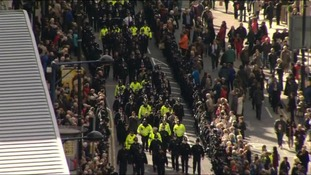 The funeral cortege consisted of police officers from all over the country.
