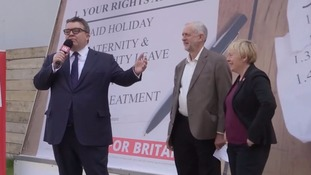 Labour's deputy leader Tom Watson introduces Jeremy Corbyn in song at Remain rally