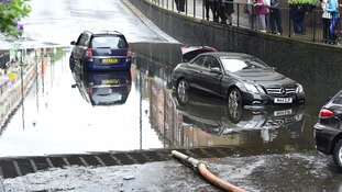 A Mercedes and a Vauxhall were caught in the deluge