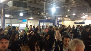 Queues quickly built up at passport control