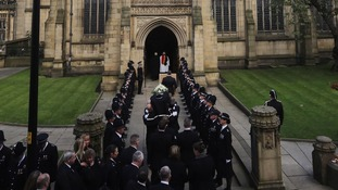 The coffin of PC Nicola Hughes