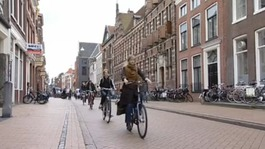 Students cycling in the Netherlands