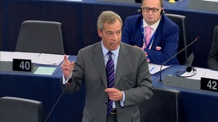 Nigel Farage angrily ushered away by MEP after 'last' speech to European Parliament