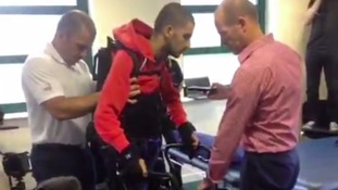 Paralysed man walks for first time in three years with help of bionic exoskeleton