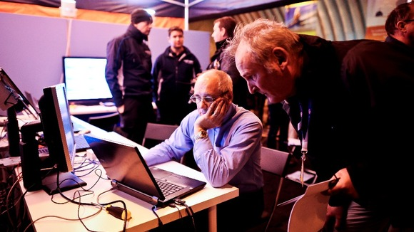 Engineers check data from the Bloodhound SCC engine