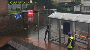 Floods by Sandwell and Dudley railway station
