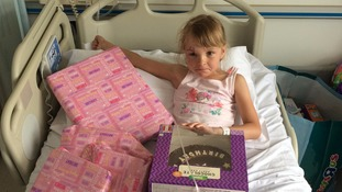 Lacie-Marie Smith celebrating her sixth birthday after spending a night in hospital