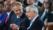 Sir John Major (right) and Tony Blair attend a Remain campaign event at the University of Ulster in Londonderry.
