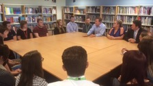 The prime minister held a discussion with pupils at Brigshaw High School