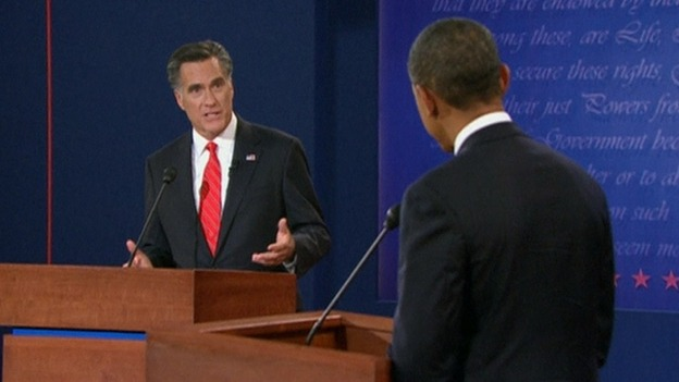 Mitt Romney and Barack Obama US debate