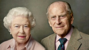 A new portrait of the Queen and Prince Philip released by Buckingham Palace.