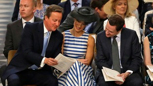 Prime Minister David Cameron (left), wife Samantha and Chancellor George Osborne take their seats at St Paul's Cathedral
