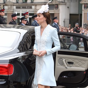 The Duchess of Cambridge arrives at St Paul's Cathedral in London