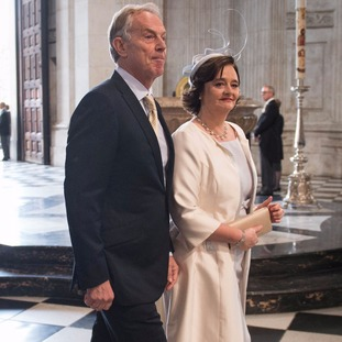 Former Prime Minister Tony Blair and wife Cherie