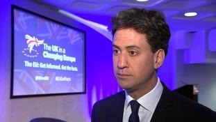 Ed Miliband speaking today