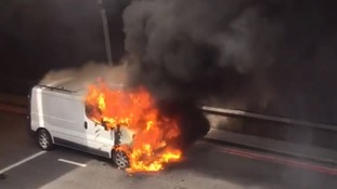 Fireball engulfs van in central London