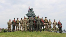 Royal Marines and sailors from HMS Bulwark's Royal Marines squadron