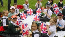 The children enjoy a royal picnic
