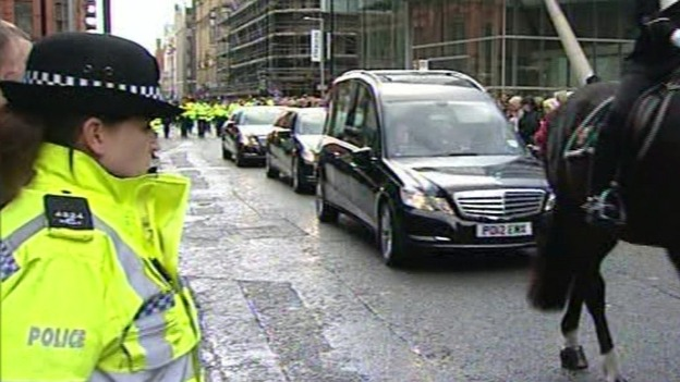Funeral procession in central Manchester for PC Fiona Bone