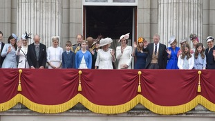 Members of the Royal Family gathered on the balcony of Buckingham Palace.