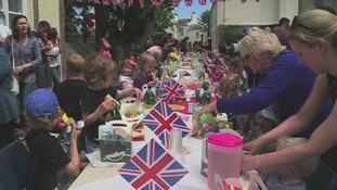 The street party held in Alderney for the Queen's 90th birthday