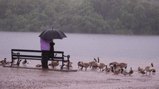 Torrential rain has swept the North West today. (Pennington Flash, Leigh)