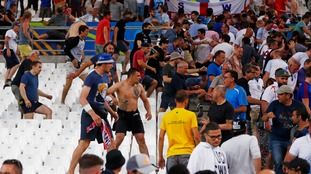 Fans clash after Saturday's England versus Russia football match.