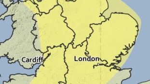 The area covered by a yellow weather warning for the risk of heavy rain on Sunday 12 June 2016.