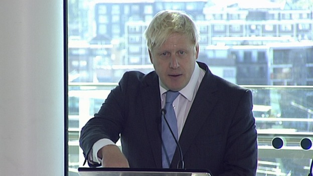 London Mayor Boris Johnson delivering his speech this morning