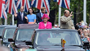 Queen Elizabeth II and the Duke of Edinburgh with the Duke and Duchess of Cambridge and Prince Harry arrive at the Patron's Lunch in The Mall
