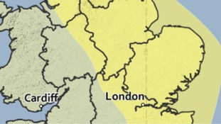 The area covered by a yellow weather warning for the risk of heavy rain on Monday.