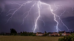 Spectacular lightning on Sunday evening at Biggleswade in Bedfordshire.