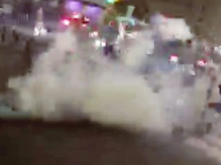 Tear gas being used by French Police.