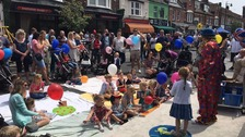A clown helped entertain children in Frinton