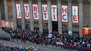 Hillsborough families on the steps of St George's Hall in Liverpool.