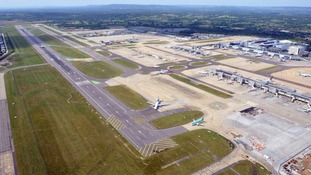 The main runway at Gatwick is closed