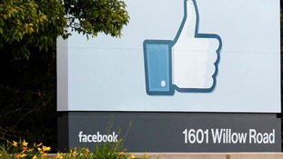 Entrance sign at Facebook's headquarters in Menlo Park, California