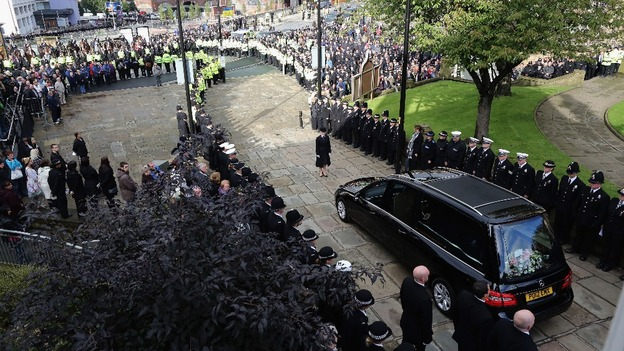 The funeral cortege of Pc Fiona Bone leaves Manchester Cathedral