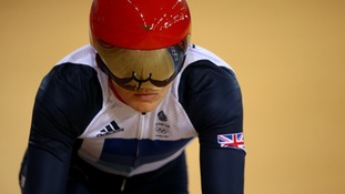 Victoria Pendleton in action against Russia's Ekaterina Gnidenko in the Olympics